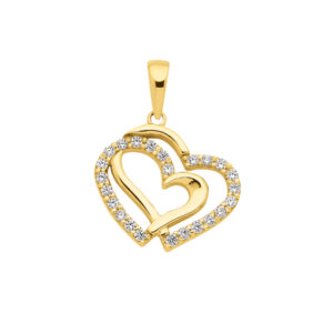 Hjerte vedhæng i guld med zirkoner til salg