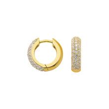 brede creoler guld øreringe med zirkoner 8 karat guld creol med sten til salg