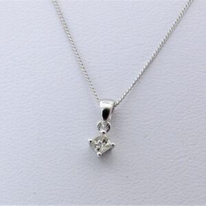 015 princess cut solitaire diamant vedhæng HvidGuld brugt til salg (9)