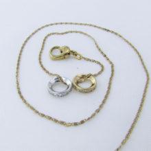 Cirkelvedhæng med zirkoner i 9 karat guld og hvidguld inkl. 8 karat guldhalskæde (8)