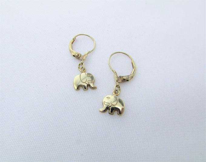 Elefant øreringe i 14 karat guld brugt til salg - Elefant øreringe
