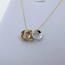 Populær 9 karat guldhalskæde med tre cirkelvedhæng billigt til salg - Brugte smykker