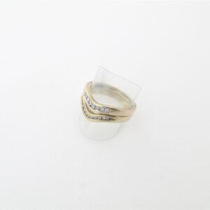 Ringsæt med to 9 karat guldringe begge med diamanter i alt 0,20 ct.