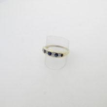 Guld ring med safirer og diamanter 9 karat