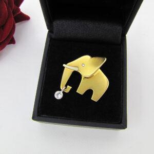 Stort elefant guldvedhæng med 0,25 ct. brillanter i 14 karat