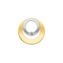 cirkel vedhæng i guld med zirkon til salg