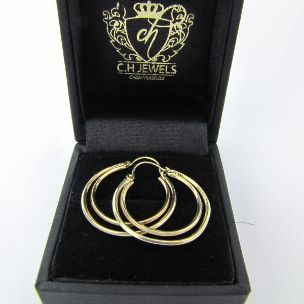Dobbelt creoler i 8 karat guld