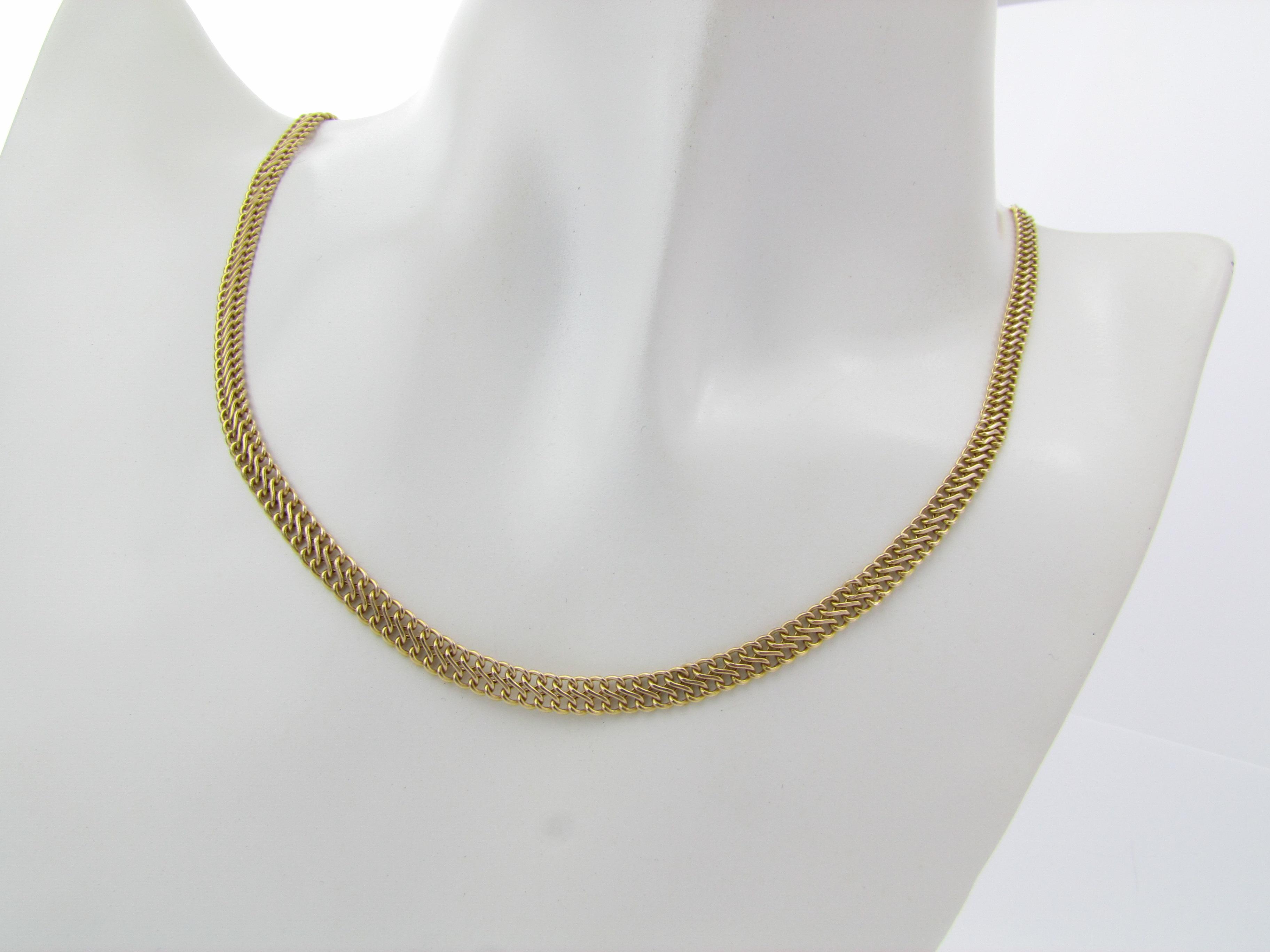 Smuk dobbelt panser halskæde i 14 karat guld