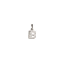 B Sølv vedhæng bogstav med zirkoner i 925 Sterling sølv