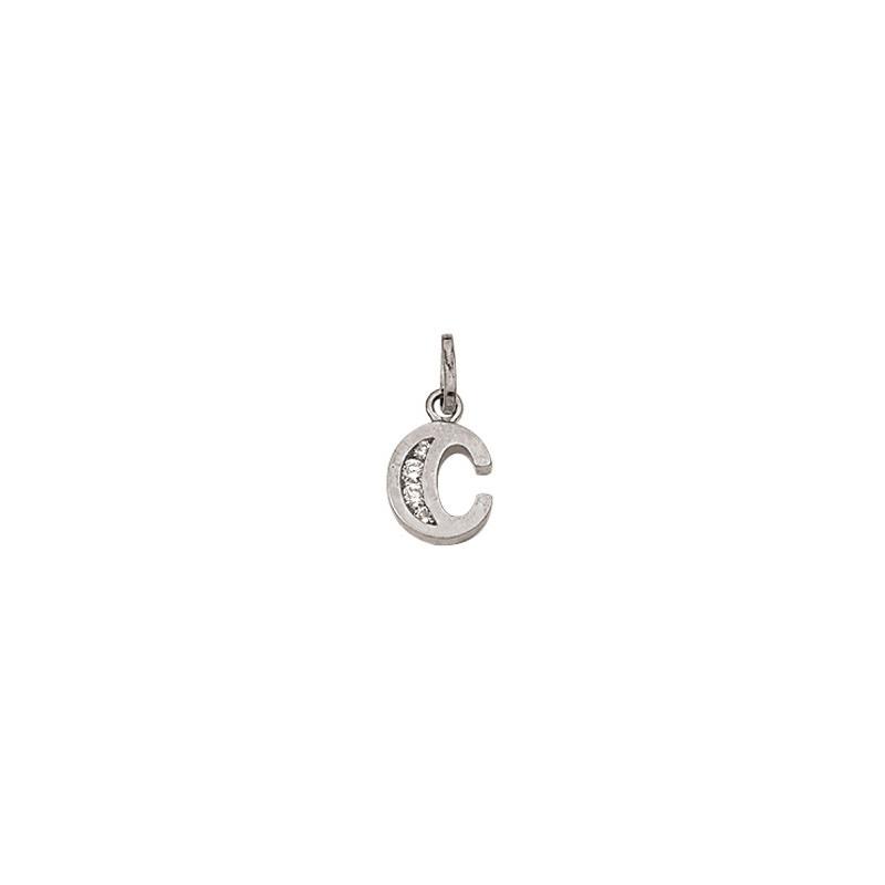 C Sølv vedhæng bogstav med zirkoner i 925 Sterling sølv