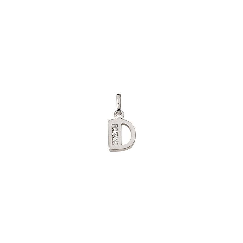 D Sølv vedhæng bogstav med zirkoner i 925 Sterling sølv