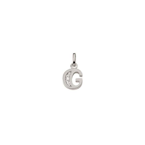 G Sølv vedhæng bogstav med zirkoner i 925 Sterling sølv