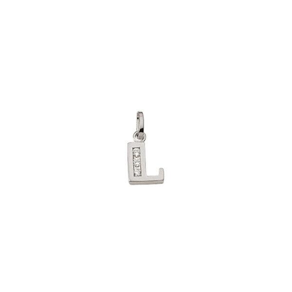 L Sølv vedhæng bogstav med zirkoner i 925 Sterling sølv