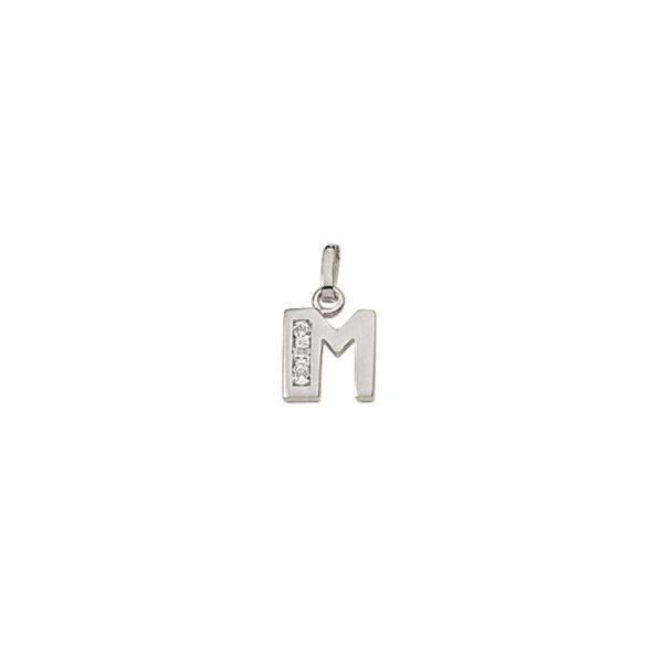 M Sølv vedhæng bogstav med zirkoner i 925 Sterling sølv