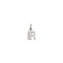 R Sølv vedhæng bogstav med zirkoner i 925 Sterling sølv