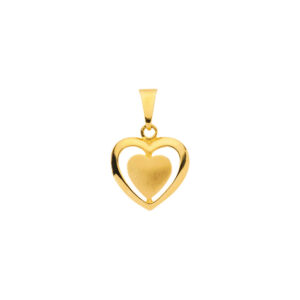 Guldhjerte i 8 karat med indre hjerte facon