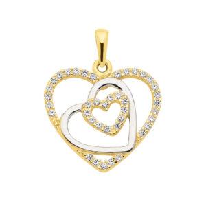 edhæng med tre hjerter besat med zirkoner. Guld vedhæng til kvinder