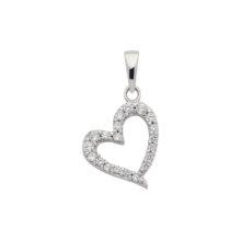 hvidguld hjerte charm med ædelstene. Flot hvidgulds hjerte i 8 karat sælges