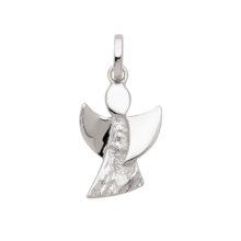 Engel sølv vedhæng med hammerprægede detaljer