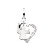 Hjerte med engel - Sødt vedhæng i 925 Sterling sølv