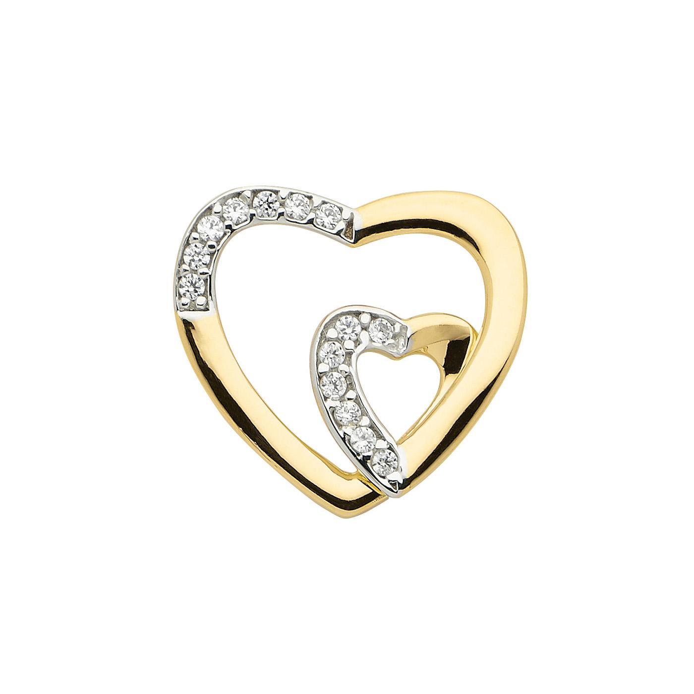 Guldhjerter med syntetiske diamanter flettet ind i hinanden. 8 karat guldvedhæng med hjerte