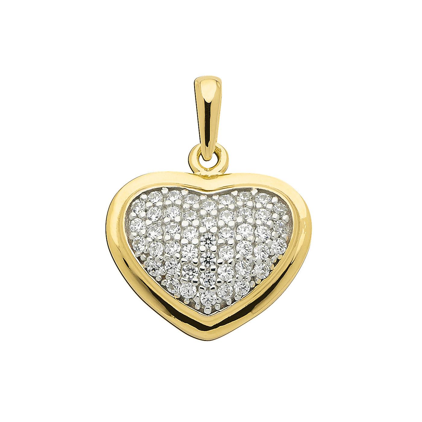 zirkon hjerte vedhæng i guld. Flot stenbesat hjerte i 8 karat