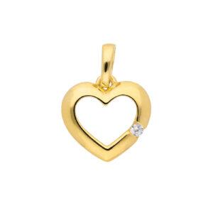 elegant hjerte vedhæng i guld med lille zirkon
