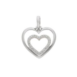AN169652 hjerte i hjerte. Feminint guld vedhæng med to hjerter inden i hinanden