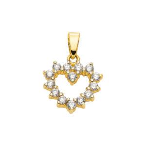 hjerte med sten i 8k guld. diamant guldhjerte