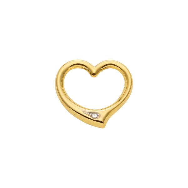 8 Karat Guld hjerte uden øsken. vedhæng hvor man stikker kæden igennem med hjerte og zirkon.jpg