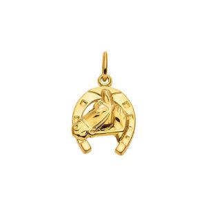 Hest vedhæng i guld med hestesko og hestehovede