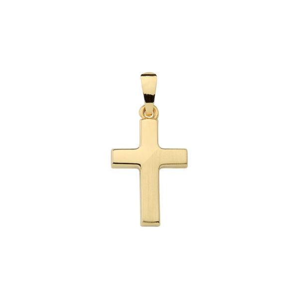 Lige kors med en mat og en blank halvdel - Billigt guld kors vedhæng