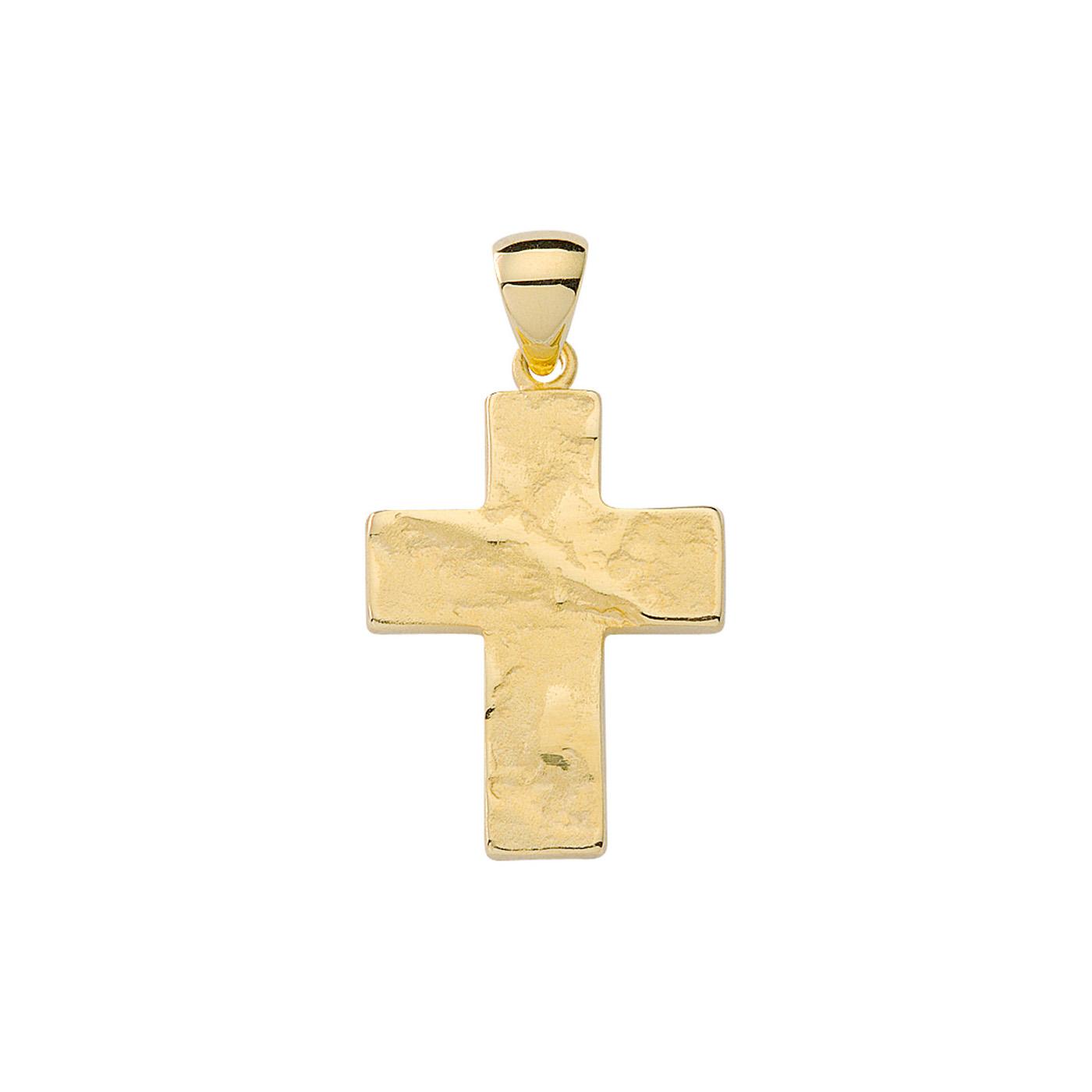 Rustikt kors vedhæng i 8 karat guld Kraftigt kors guld vedhæng 8 karat til mænd og kvinder. Herre guld smykker kors