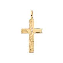 Kraftigt guld kors m rustik overflade og små zirkoner