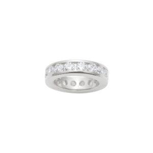 hvidguld ring til halskæde med synt. diamanter, hvid guldring til hals kæde med zirkoner