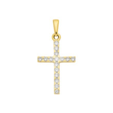 Kors med zirkoner, guld kors med sten -8K