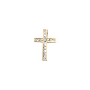 stenbesat kors guld vedhæng med zirkoner. Køb guld kors med synt diamanter