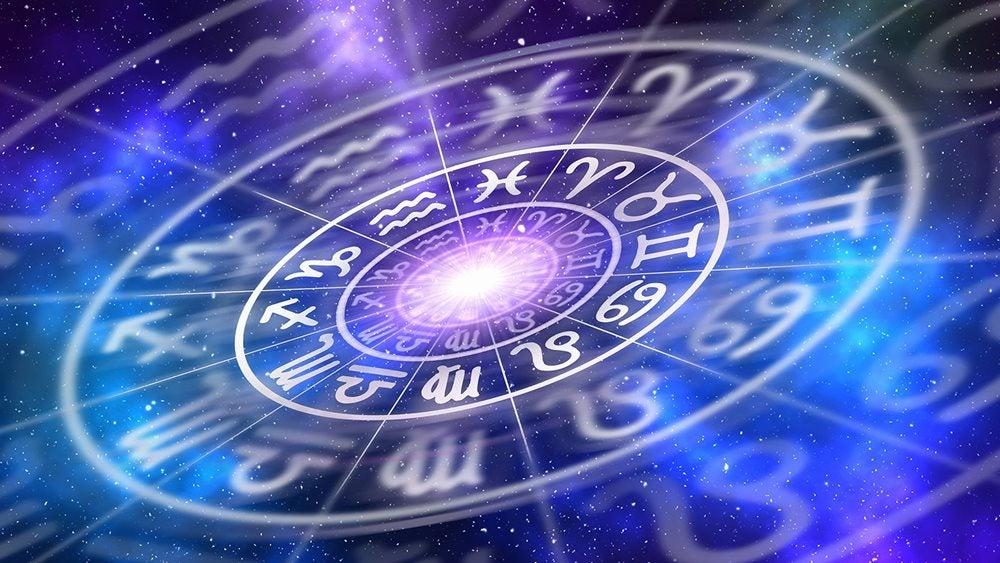 Et horoskophjul med de tolv astrologiske huse
